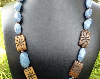 Bone, wood & quartz necklace