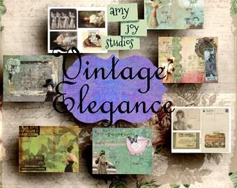 SALE  Vintage Elegance  Printable Journal Kit  Vintage Junk Journal  Ephemera Pack  Victorian journal  mini album  vintage women  postcards