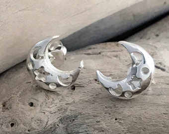 Crescent Moon Earrings - Sterling Silver Earrings - Bridesmaid Jewelry - Silver Moon SKY054