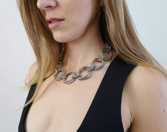 RESERVED! Oversized Vintage Silver Rope Chain Collar Necklace