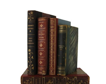 Antique Book Set , Antique Leather Books, Brown Decorative Books, Old Book Stack,  Wedding Centerpiece, Old Books