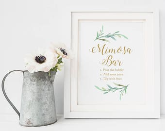 "Mimosa Bar Sign Printable Mimosa Bar Sign, 8x10"", Greenery, Printable Wedding Signage. Download and Print"