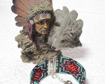NATIVE AMERICAN Inspired Loom Bead Bracelet. 'Persian Heart'