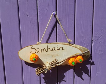 Pyrographed Samhain, Wooden Plaque, Halloween Sign, Birch Besom, Miniature Pumpkins, Pagan Home Decor, Wiccan Altar, Pumpkin Charm