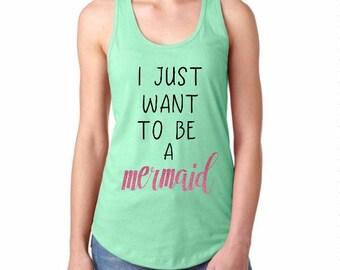 Mermaid Ladies Tank, Mermaid Tank Top, Mermaid Tank, Summer Tank Top, Beach Tank, Beach Tank Top, Racerback Tank, Gym Tank, Workout Tank