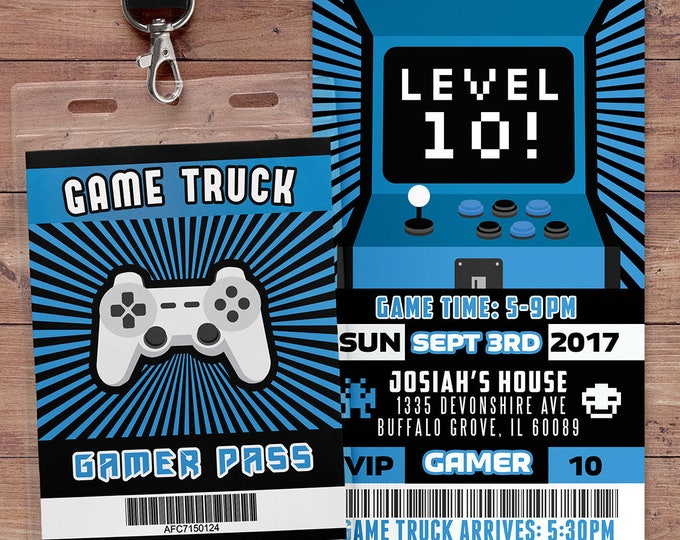 Video Game Invitation | Game Truck Party Invitations | Video Game Party Invitations | Boy Birthday Invitation | Game Truck Invitation, VIP