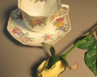 Teacup & Saucer Royal Doulton Floral Pattern Octagon Shape w/Gold Accents