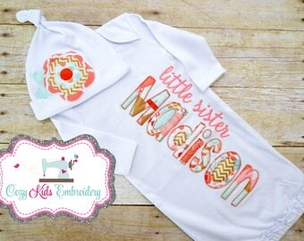 Coming Home Gown, Little Sister Gown, Sister Shirt, Baby Gown, Personized Sister Shirt, Embroidery, Applique, Pregnancy Reveal Gown