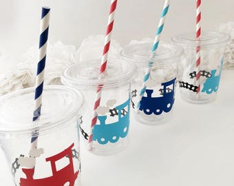 Train Party Cups - Train Birthday Party - Choo Choo I'm 2 - Boy Birthday Ideas - Train Treat Cups - Train Party Supplies - Transportation
