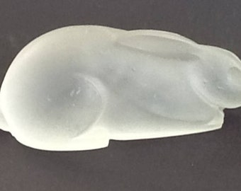 Frosted Clear Bunny Rabbit~Satin Glass Statue~Easter Bunny~Rabbit Collectors~Easter Decoration~Collectable Glass~Vintage FrostedGlass~Rabbit