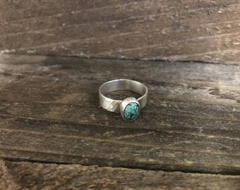 Turquoise Ring, Chinese Turquoise Ring, Energy, Wholeness, Emotional Balance, Good Luck, Spiritual Grounding, Mens [RBRG02CT]