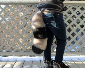 Any Color Fluffy Furry Raccoon Red Panda Stripe Extra Soft Puffy Fursuit Cosplay Tail