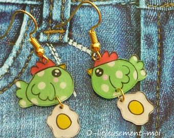 Green kawaii chick bird gold plated earrings and her egg closed crazy shrink plastic hand painted