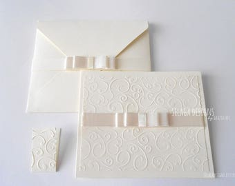 Ivory embossed wedding invitations, wedding invitations with satin bow, custom invitations, Italian bridal invitations, wedding stationery