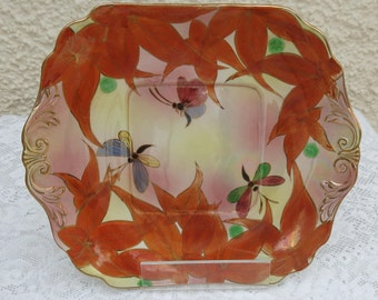 Vintage Lusterware China Cake/Bread Plate - Dragonfly Design