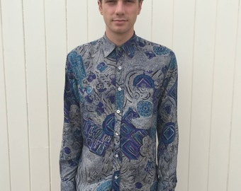 Men's Vintage Shirt. Blue Long Sleeved Shirt With 80s Style Pattern. 100% Viscose. Size M.