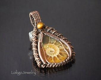 Ammonite Wire Wrapped Pendant, Ammonite Pendant, Heady Wire Wrap Pendant, Wire Wrap Pendant, Copper Pendant, Ammonite Fossil