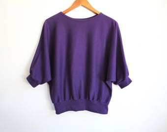Oversized 80s Shirt, Vintage Purple Top, 1980s Clothing