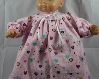 """Hand Sewn Baby Doll Clothing Dress for 14-16"""" Dolls (Shown on 15"""" Bitty Baby, Doll Not Included)"""