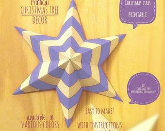 Christmas stars, DIY, printable, Christmas decor, diy Christmas ornaments, Christmas art, holiday decor, stars,4 Christmas tree,PURPLE light