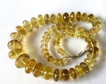 Brand new full 18 inch strand Natural LEMON QUARTZ faceted rondelles, lemon quartz very good quality, 6 -- 18 mm approx,[E3544]lemon quartz