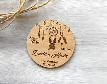 Save the Date Magnets, Rustic Wedding Save the Date, Boho Wedding Invite, Wood Save the Date Magnet, Wooden Wedding Favors, Dream Catcher