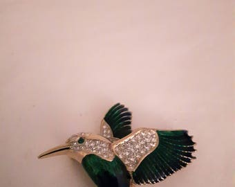 Vintage Attwood and Sawyer Bird Brooch - Gold Tones with Emerald Green Enamel - Rhinestones - 1970s