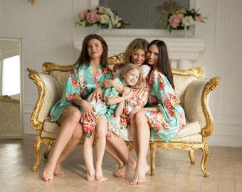 Floral Satin Robes - Silk Robes for Bridesmaids - Getting Ready Robes - Wedding Robes - Satin Bridesmaid Robes - Bridesmaids Gifts - Kimono