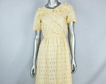 Yellow eyelet dress see through dress pale yellow dress 70s geometric dress spring pastel dress