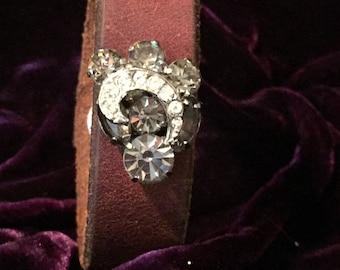 Vintage leather and rhinestone cuff bracelet.