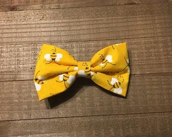 Yellow Bumble bee - Fabric Hair bow