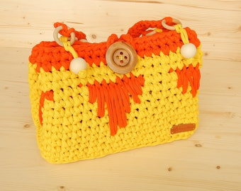 Crochet Kids Easter Basket Bag For Girl Baby Bag For Doll Knitted Children Bag For Waldorf Doll Clothes Storage Doll Accessories Yellow bag