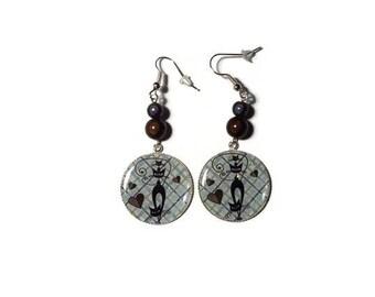 Glittery cat dangle earrings / gift