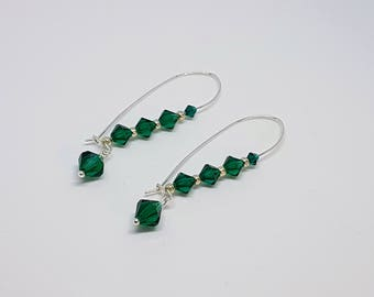 Swarovski Crystals Tears, crystal earrings Swarovski, silver earrings green, Swarovski green silver, gift special occasion