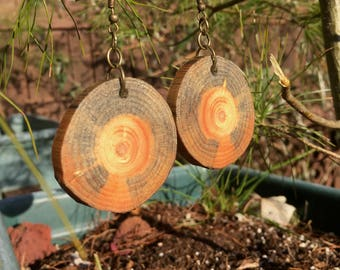 Spalted White Pine Wooden Earrings, Wood Cookie Earrings, Boho Earrings, Wood Slice Earrings