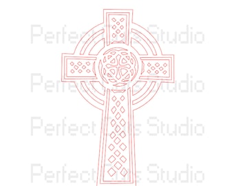 Celtic Cross SVG Cut File and Studio 3 Cut File for Cricut Silhouette Files Cutouts Downloads Stencil Irish Stencils Download SVGs Religious
