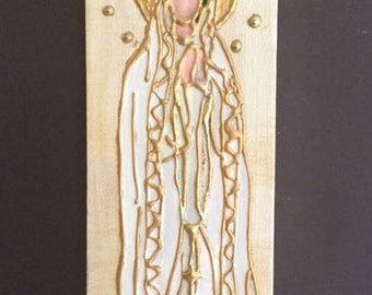 4 x 12 Mixed Media Painting of Our Lady of Fatima