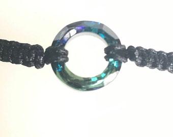 Eternity Swarovski volcano crystal bracelet. Ring is faceted stone