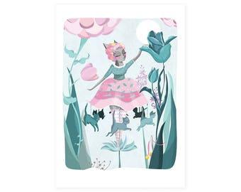 Cat Illustration Art Print - Carousel Clara - Fairground fairytale fantasy surreal  - cats nursery A4 / A3 /  8 x 10 / A5 - print