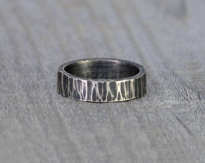 Oak Textured Wedding Band in Sterling Silver With Personalized Message Inside, 5.5mm Wide Rustic Wedding Ring