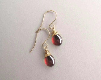 Genuine Garnet earrings, January birthstone earrings, Petite drop earrings, Red gemstone earring, dainty earrings, yellow or rose gold