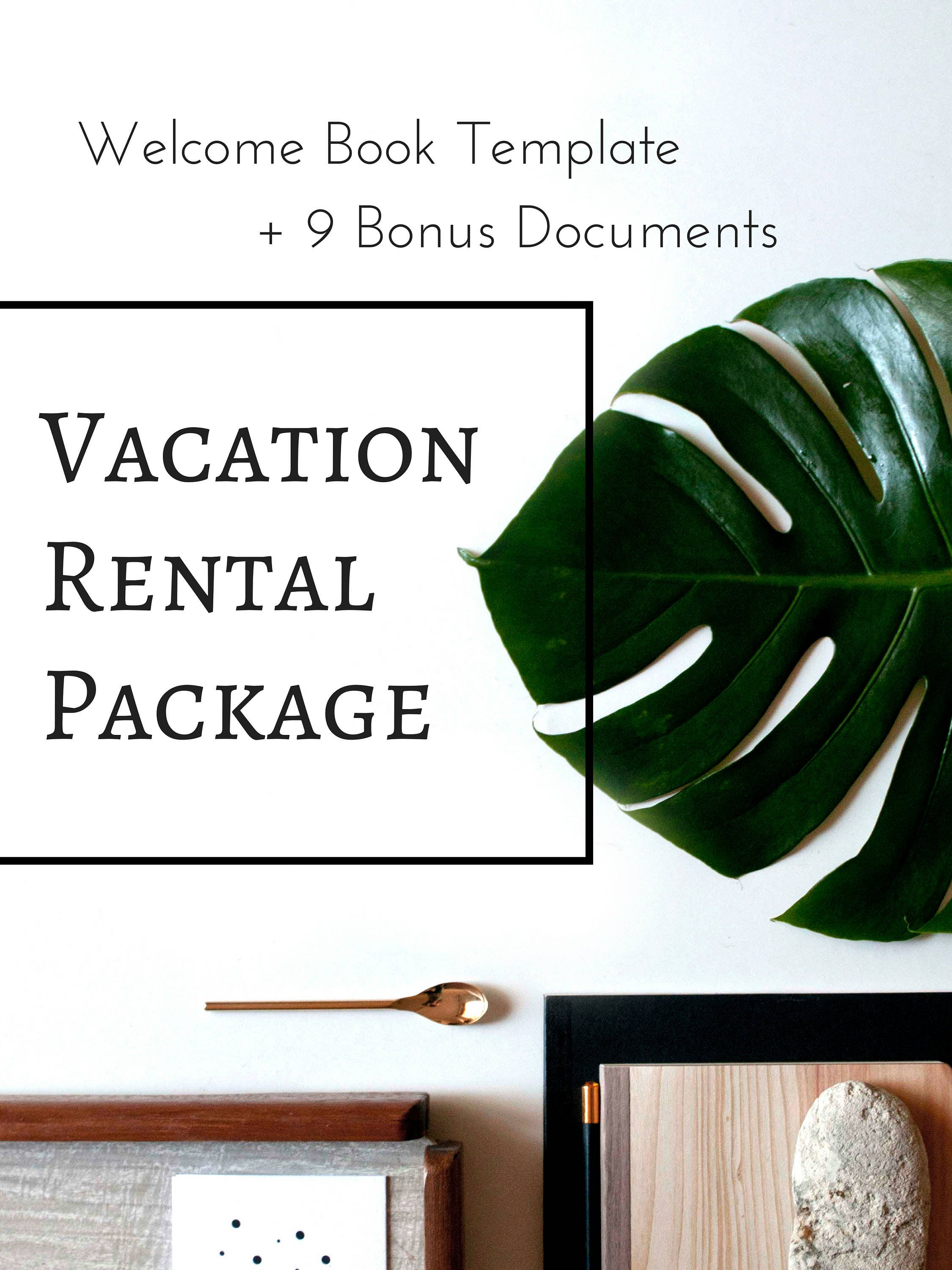 10 item package vacation rental welcome book template. Black Bedroom Furniture Sets. Home Design Ideas