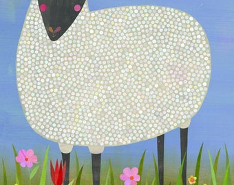 Black Sheep, Stretched Canvas Art Print, Nursery  Decor, Farmhouse Theme