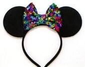 Minnie Mouse Ears Rainbow Sequin Bow - Mickey Mouse Ears Disney Ears Sequin Minnie Mouse Bow Minnie Mouse Headband Mickey Ears Minnie Ears