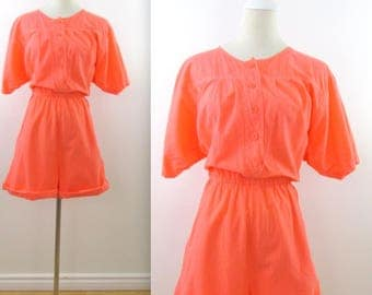 Bright Coral Romper Shorts - Vintage 1980 80s Womens Fluorescent Playsuit in Medium Large by 2Dye4