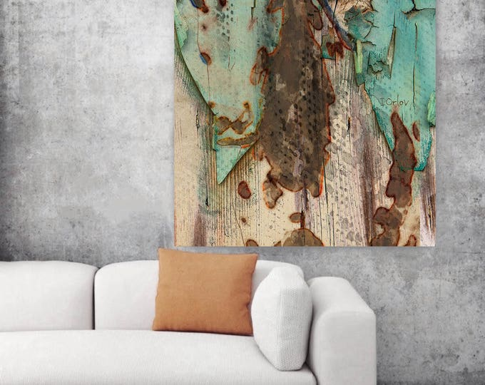 """Eco Horse. Extra Large Horse, Unique Green Horse Wall Decor, Brown Rustic Horse, Large Canvas Art Print up to 72"""" by Irena Orlov"""