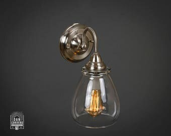 Wall Sconce Light Fixture |  Edison Bulb | Brushed Nickel | Oil Rubbed Bronze | Edison light | Pear Shade