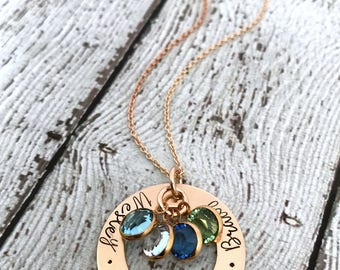 Gold Mother Necklace, Birthstone Necklace for Mom, Family Birthstone Necklace, Gold Birthstone Necklace,  Personalized Gold Jewelry