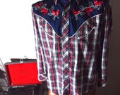 Embroidered Floral 1960s / 60s Mens Vintage Red Tartan Plaid w/ Navy Blue Colour Blocked Bad Ass Psych Rock Western Cowboy Western Shirt {M}