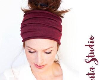 Burgundy  Headband - Burgundy Knit Headband Wide Headband Tube Headband Wide Turban Chemo Turban Running Headband Chemo Headcover TIUTEAM